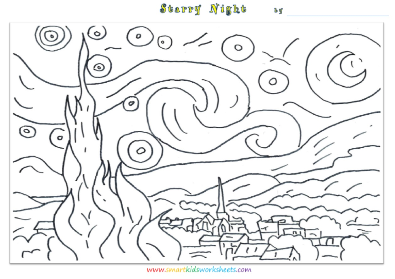 Free Coloring Pages Of Starry Night Starry Coloring Page