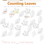 Color the leaves its labeled color. Count the leaves. Trace the sentences.